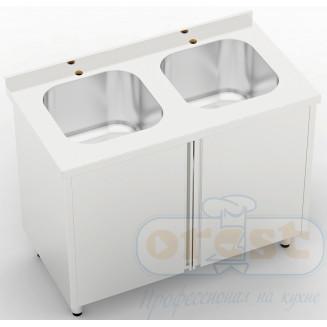 Стол-тумба (2 распашные двери, 2 мойки штампованные) CSW-2.1-C2SP